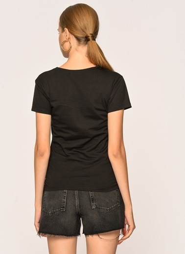 Loves You Kelebek Taşlı T-Shirt Siyah